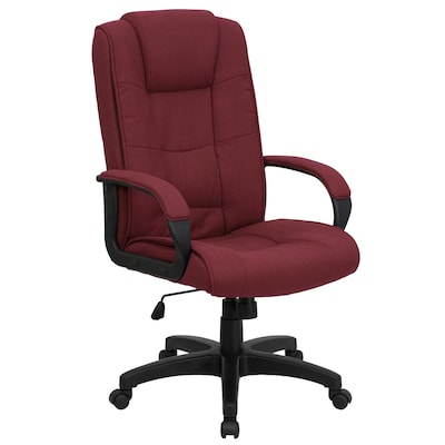 Magnificent High Back Burgundy Fabric Executive Swivel Office Chair With Arms Andrewgaddart Wooden Chair Designs For Living Room Andrewgaddartcom