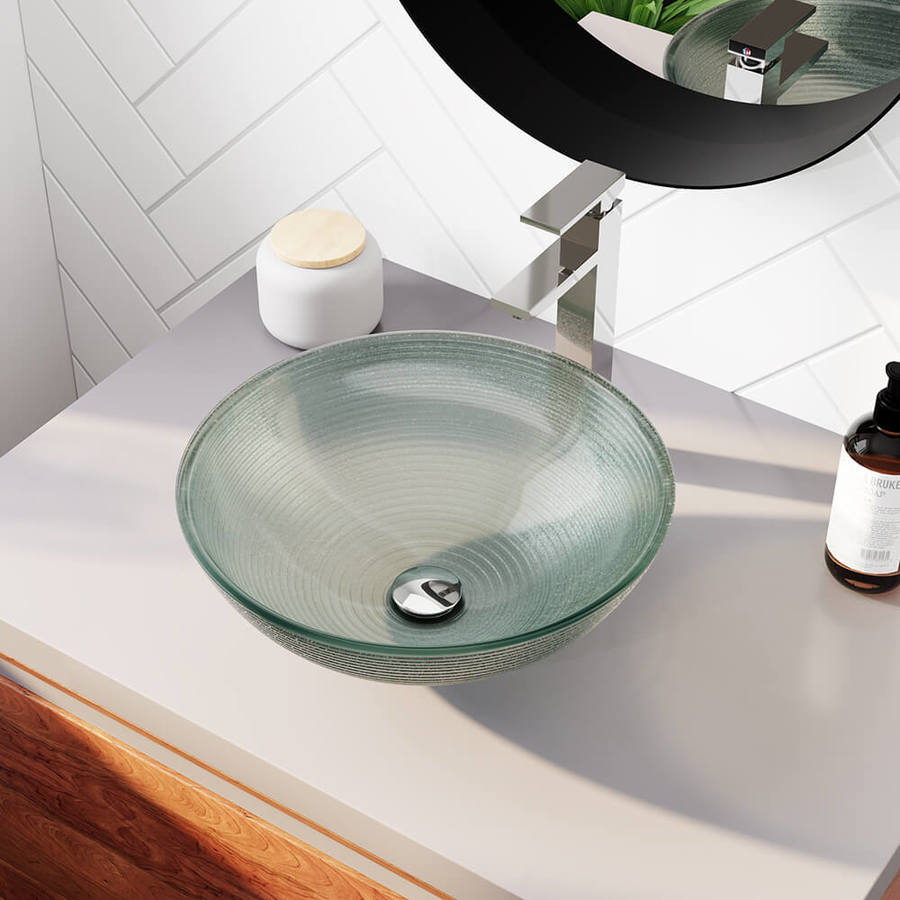 Mr Direct Iridescent Tempered Glass Vessel Round Bathroom Sink With Faucet Drain Included 16 5 In X 16 5 In In The Bathroom Sinks Department At Lowes Com