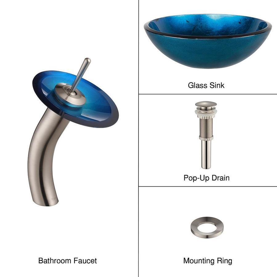 Kraus Irruption Blue Brass Vessel Round Bathroom Sink with Faucet (Drain Included)