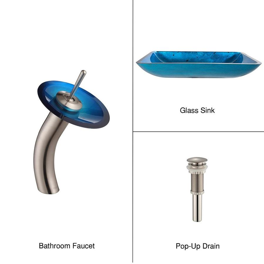 Kraus Irruption Blue Brass Vessel Rectangular Bathroom Sink with Faucet (Drain Included)
