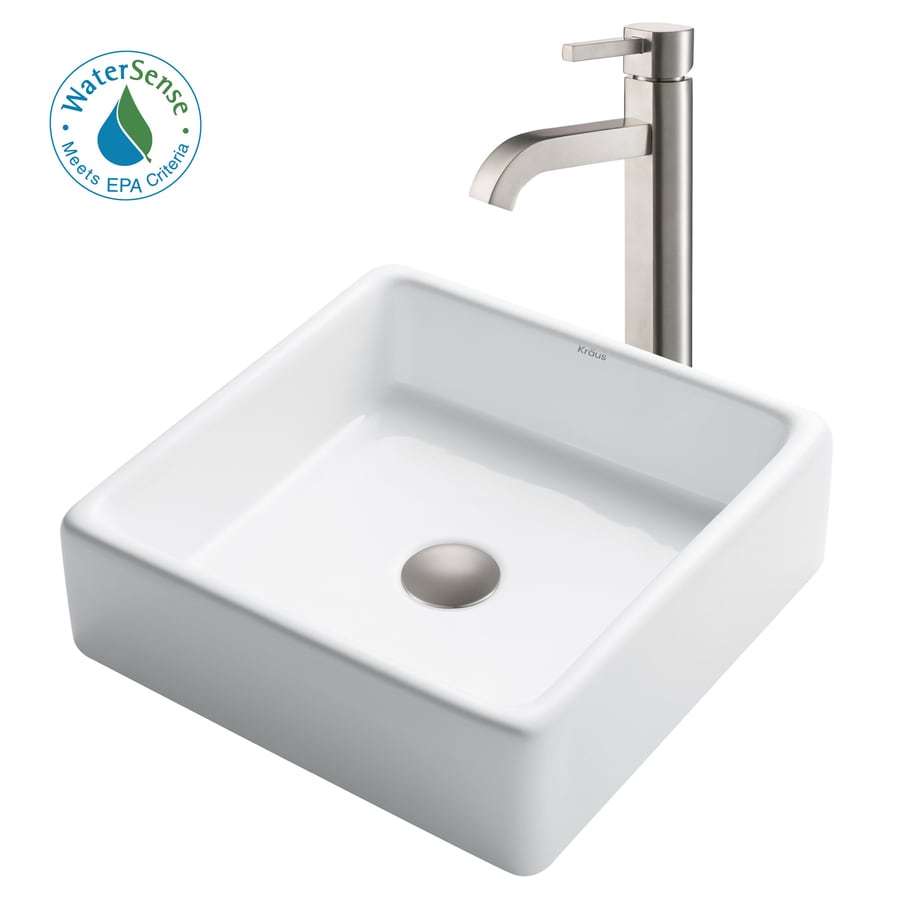 Shop kraus white ceramic satin nickel vessel square bathroom sink with faucet drain included for White porcelain bathroom faucets