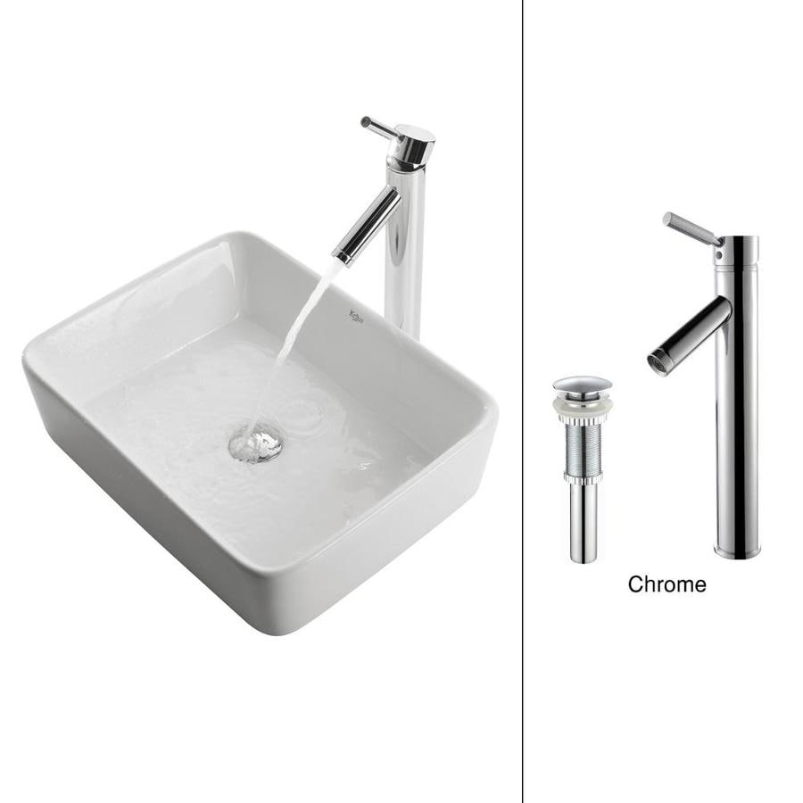 Kraus White Ceramic Chrome Vessel Rectangular Bathroom Sink with Faucet (Drain Included)