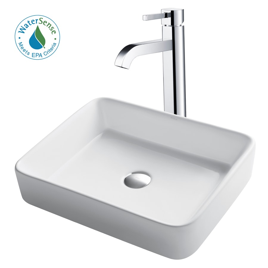 Kitchen Sink Kraus: Shop Kraus White Ceramic Chrome Vessel Rectangular