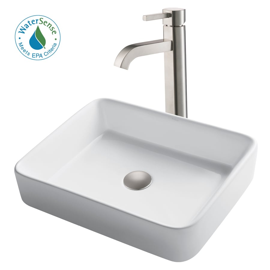 Shop kraus white ceramic satin nickel vessel rectangular bathroom sink with faucet drain for White porcelain bathroom faucets