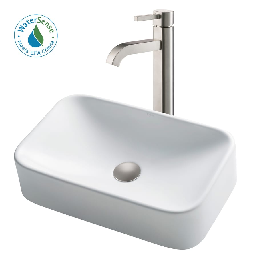 Kraus White Ceramic Satin Nickel Ceramic Vessel Rectangular Bathroom Sink With Faucet Drain