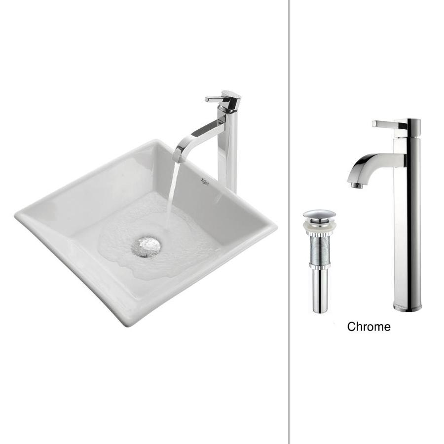 Kraus White Ceramic Chrome Vessel Square Bathroom Sink with Faucet (Drain Included)