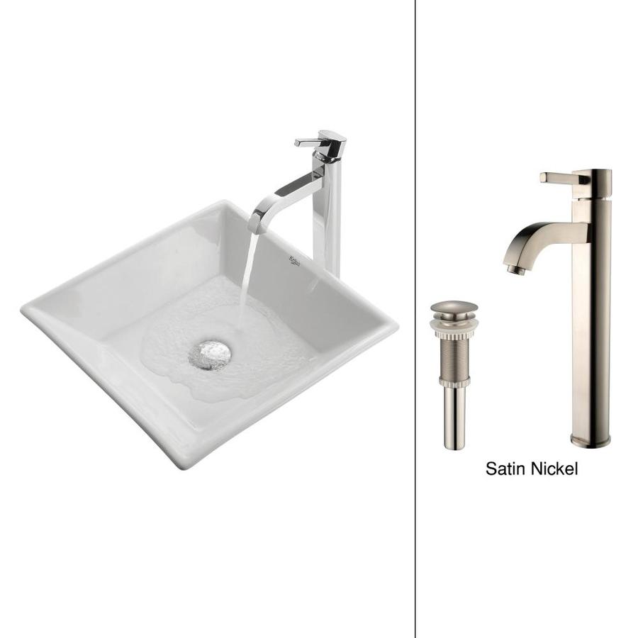 Kraus White Ceramic Satin Nickel Vessel Square Bathroom Sink with Faucet (Drain Included)