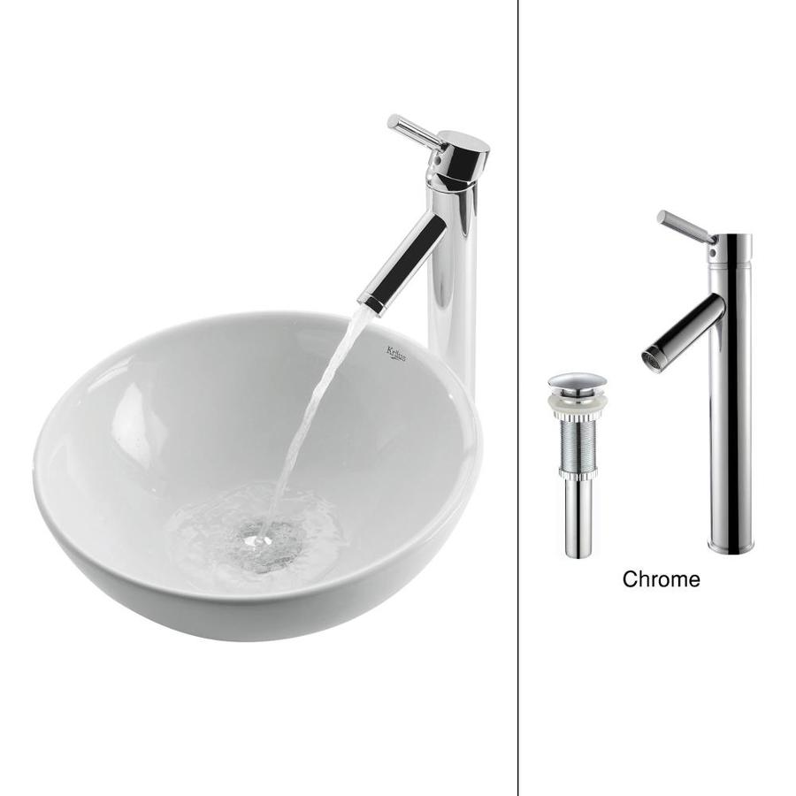 Kraus White Ceramic Chrome Vessel Round Bathroom Sink with Faucet (Drain Included)