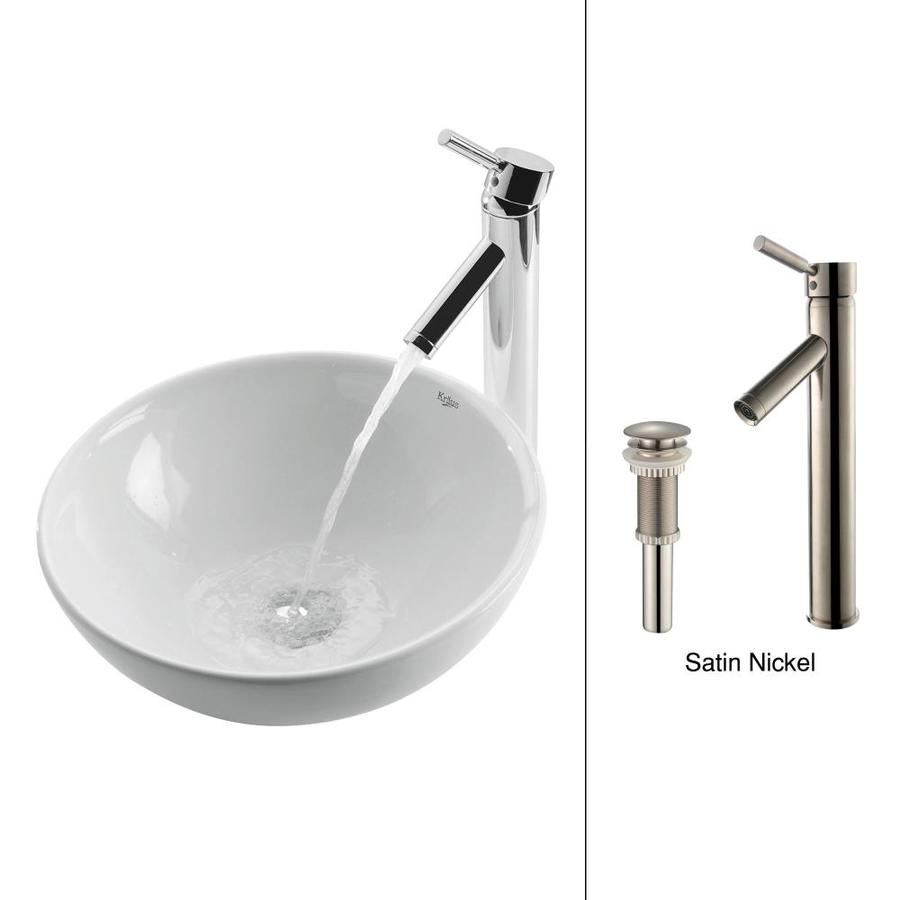 Kraus White Ceramic Satin Nickel Vessel Round Bathroom Sink with Faucet (Drain Included)
