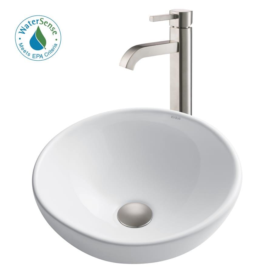 Shop Kraus White Ceramic Satin Nickel Vessel Round Bathroom Sink ...