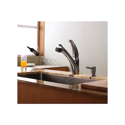 Stainless Steel 1-handle Deck Mount Pull-out Kitchen Faucet