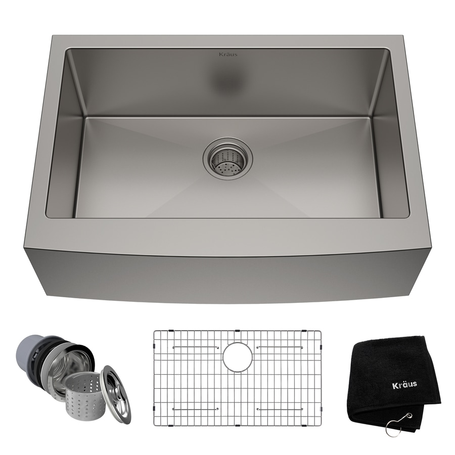 Kraus Handmade 20.75-in x 29.75-in Single-Basin Stainless Steel Apron Front/Farmhouse Residential Kitchen Sink