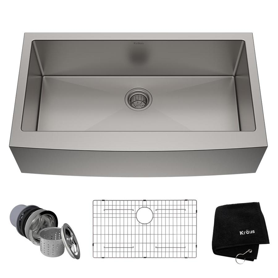 Kraus Handmade 20.75-in x 35.88-in Single-Basin Stainless Steel Apron Front/Farmhouse Residential Kitchen Sink