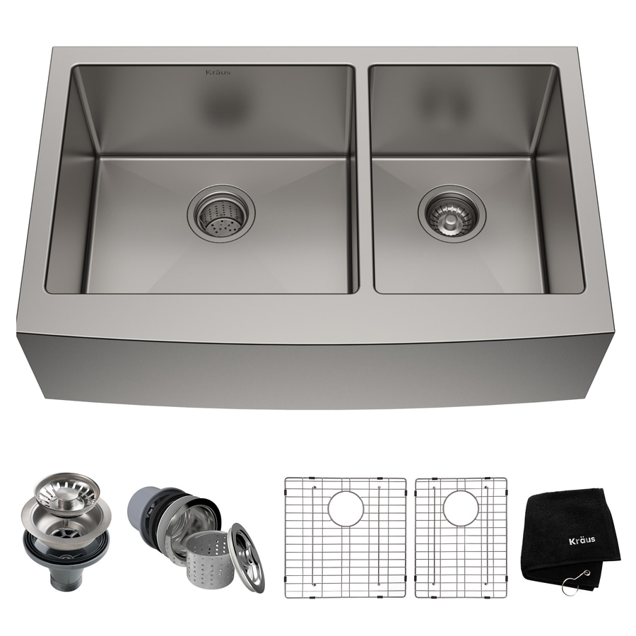 Kraus Kitchen Sink 20.75-in x 35.9-in Stainless Steel Double-Basin Apron Front/Farmhouse Residential Kitchen Sink All-In-One Kit