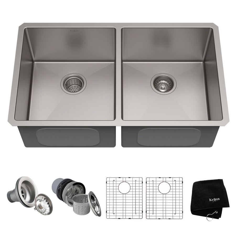 Kraus Handmade 32.75 In X 19 In Stainless Steel Double Basin Stainless Steel