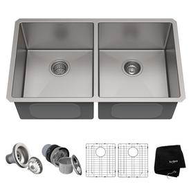 kraus handmade 19 in x 3275 in double basin stainless steel undermount residential - Metal Kitchen Sink