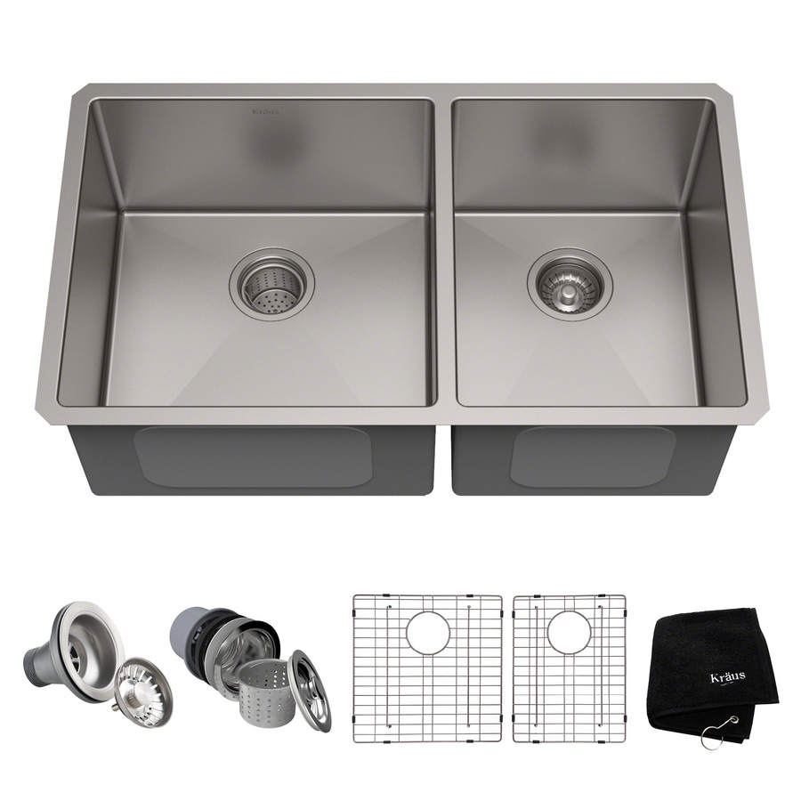 Kraus Handmade 19-in x 32.75-in Stainless Steel Double-Basin Undermount Kitchen Sink