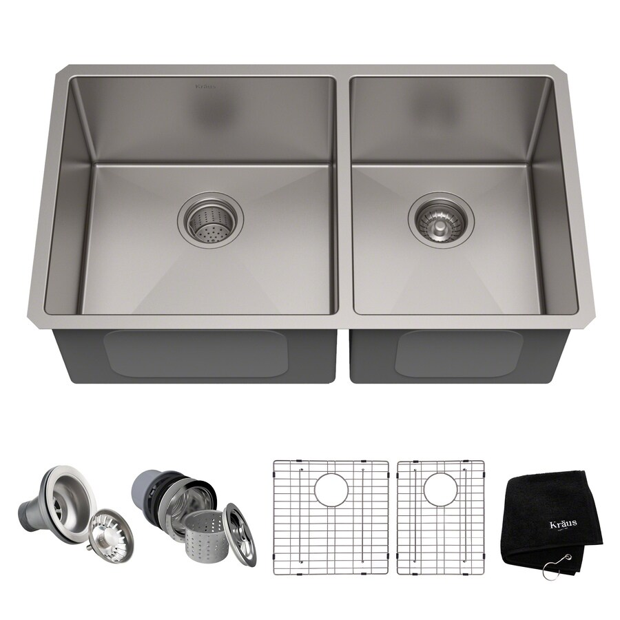 Bon Kraus Handmade 32.75 In X 19 In Stainless Steel Double Basin Stainless Steel