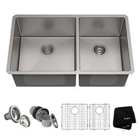 Undermount Double Kitchen Sink Shop kitchen sinks at lowes kraus handmade 19 in x 3275 in double basin stainless steel undermount residential workwithnaturefo