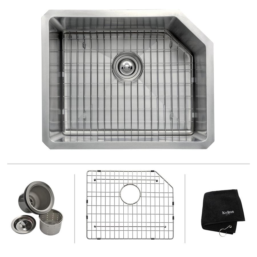 Kraus Handmade 18.75-in x 23-in Single-Basin Stainless Steel Undermount Residential Kitchen Sink