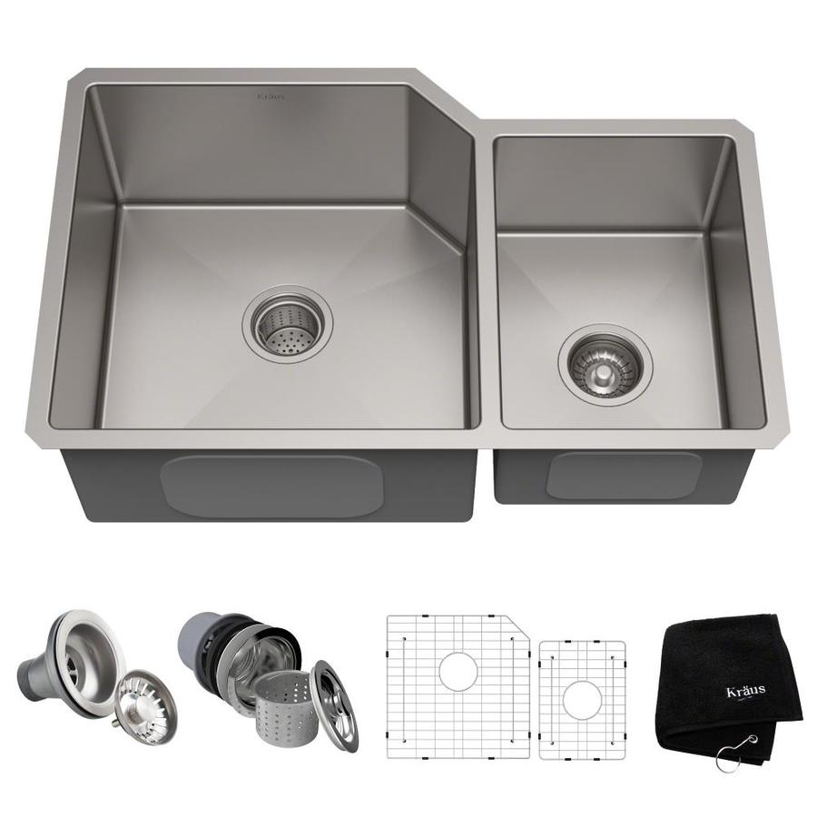 Kraus Handmade 20-in x 32-in Stainless Steel Single-Basin-Basin Stainless Steel Undermount (Customizable)-Hole Residential Kitchen Sink