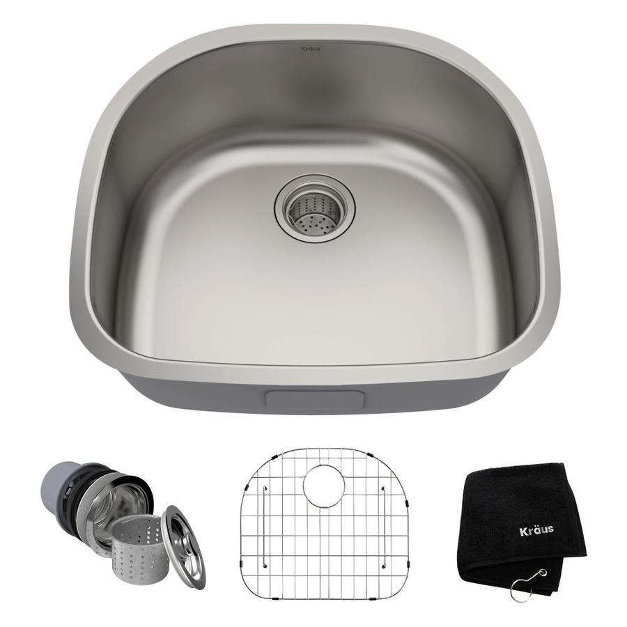 Kraus Premier Kitchen Sink 21-in x 23.38-in Stainless Steel Single-Basin-Basin Stainless Steel Undermount (Customizable)-Hole Residential Kitchen Sink