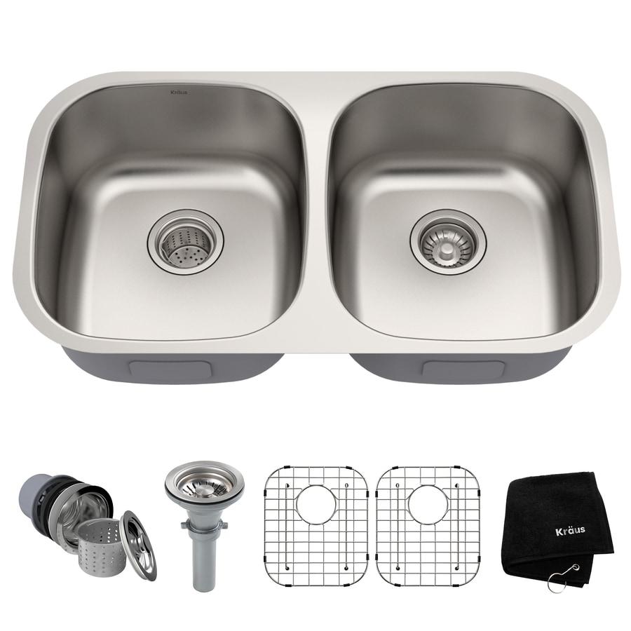 Kraus 18.5-in x 32.25-in Stainless Steel Double-Basin Undermount Kitchen Sink