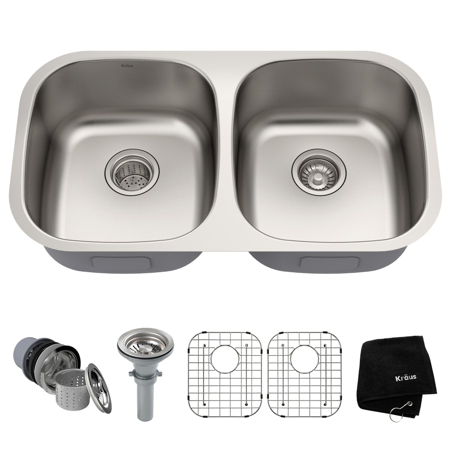Kraus Premier Kitchen Sink 18-in x 32.25-in Stainless Steel Single-Basin-Basin Stainless Steel Undermount (Customizable)-Hole Residential Kitchen Sink