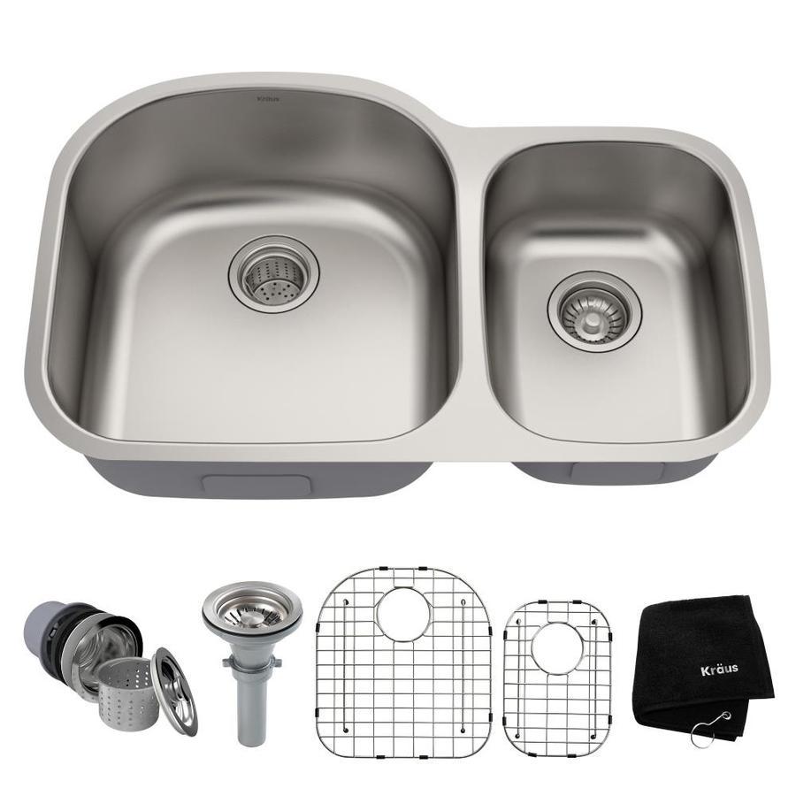 Kraus Premier Kitchen Sink 20.5-in x 32.38-in Double-Basin Stainless Steel Undermount Residential Kitchen Sink
