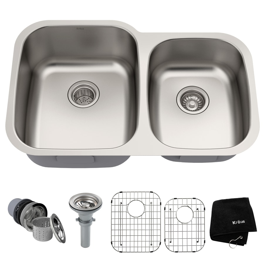 Kraus Premier Kitchen Sink 20.63-in x 32-in Double-Basin Stainless Steel Undermount Residential Kitchen Sink
