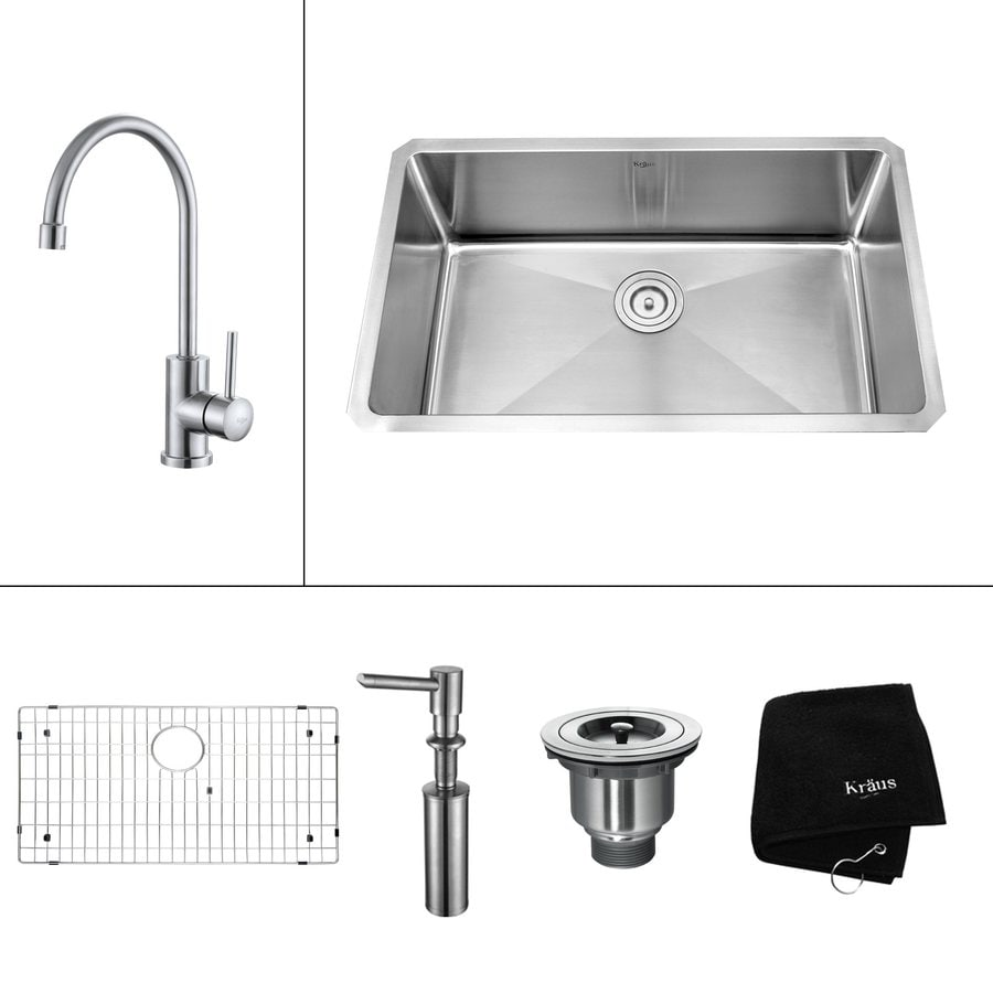 Kraus Kitchen Combo 18-in x 30-in Steel-Stainless Single-Basin Undermount Kitchen Sink