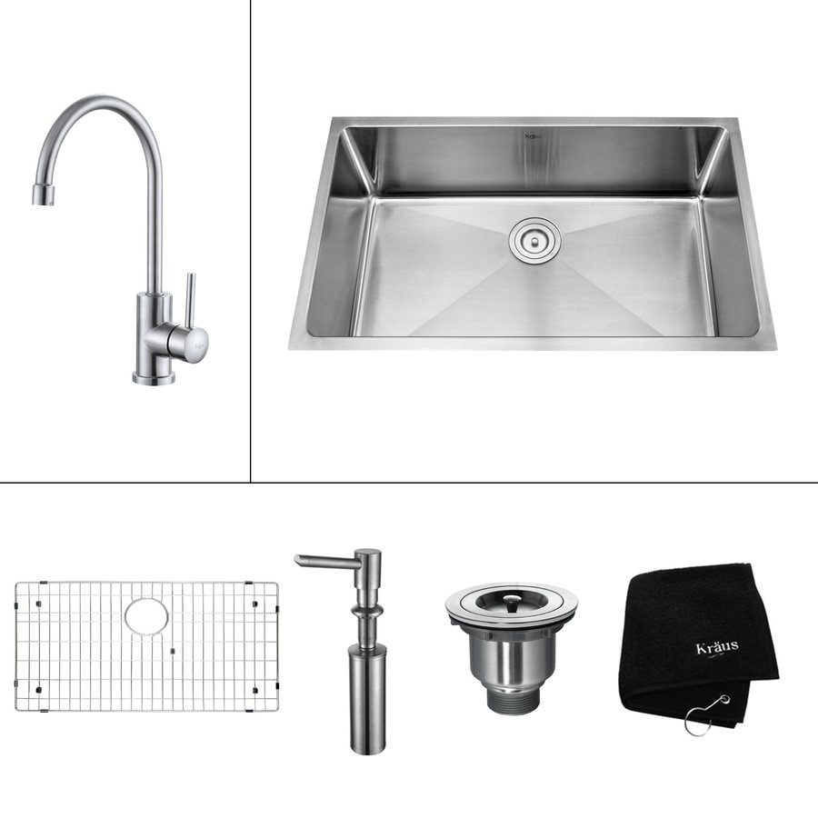 Kraus Kitchen Combo 19-in x 32-in Steel-Stainless Single-Basin Undermount Kitchen Sink
