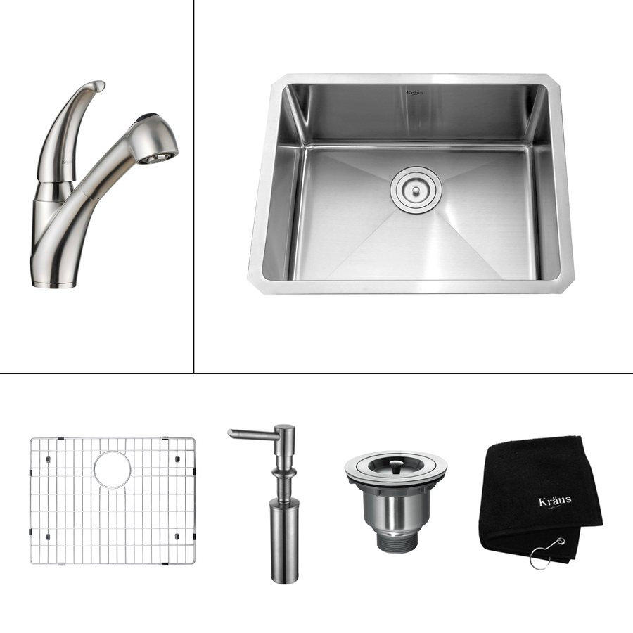 Kraus Kitchen Combo 18-in x 23-in Steel-Stainless Single-Basin Undermount Kitchen Sink