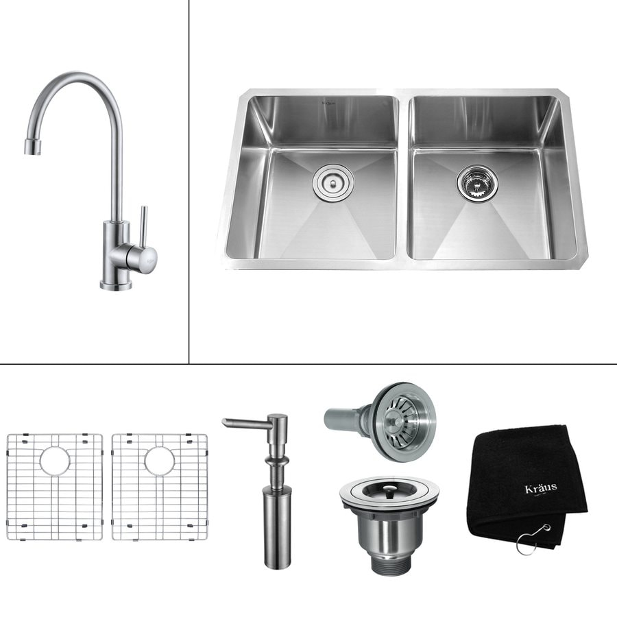 Kraus Kitchen Combo 19-in x 32.75-in Steel-Stainless Double-Basin Undermount Kitchen Sink