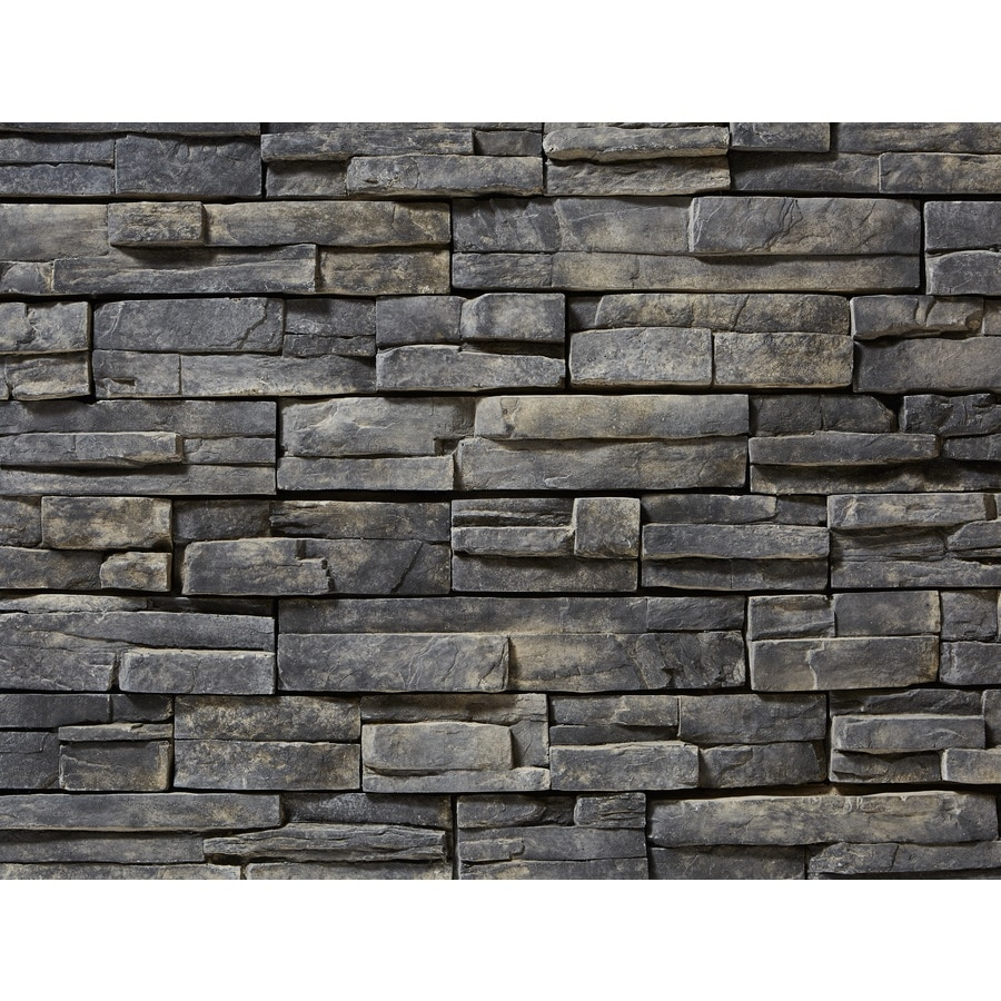 Shop clipstone prostack 8 sq ft ash manufactured stone for Stone veneer house pictures
