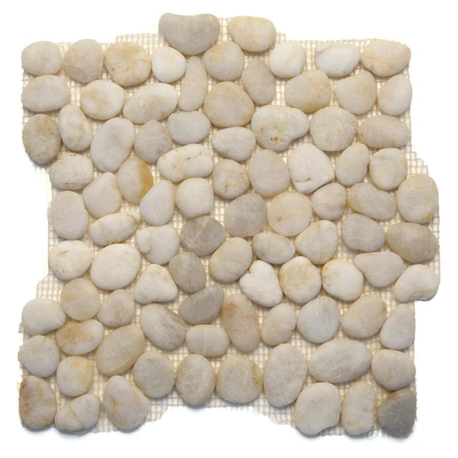 Solistone Anatolia Pebbles 10-Pack Honed White Onyx Mosaic Floor Tile (Common: 12-in x 12-in; Actual: 12-in x 12-in)