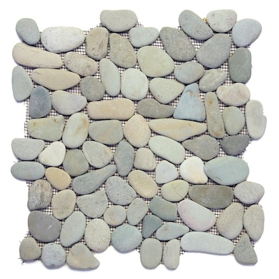 River Rock Pebbles 10 Pack Turquoise 12 In X Pebble Mosaic Floor And Wall Tile Common Actual