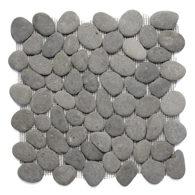 River Rock Pebbles 10 Pack Gray Mosaic Floor Tile Common 12 In X Actual