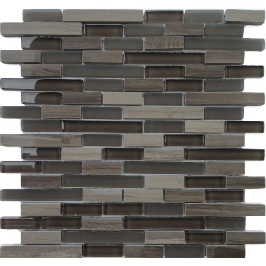 Solistone Opera Glass 10-Pack Aria Dark Mosaic Stone and Glass Marble Wall Tile (Common: 12-in x 12-in; Actual: 11.75-in x 12-in)