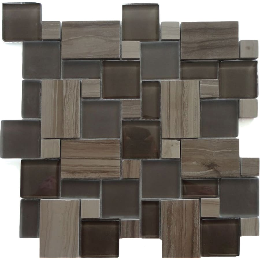 Solistone Opera Glass 10-Pack Bel Canto Dark Mixed Pattern Mosaic Stone and Glass Marble Wall Tile (Common: 12-in x 12-in; Actual: 11.75-in x 11.75-in)