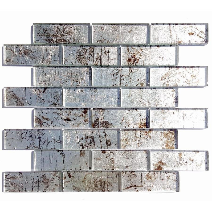 Solistone Folia Glass 10-Pack Silver Maple Mosaic Glass Wall Tile (Common: 12-in x 12-in; Actual: 12-in x 12-in)