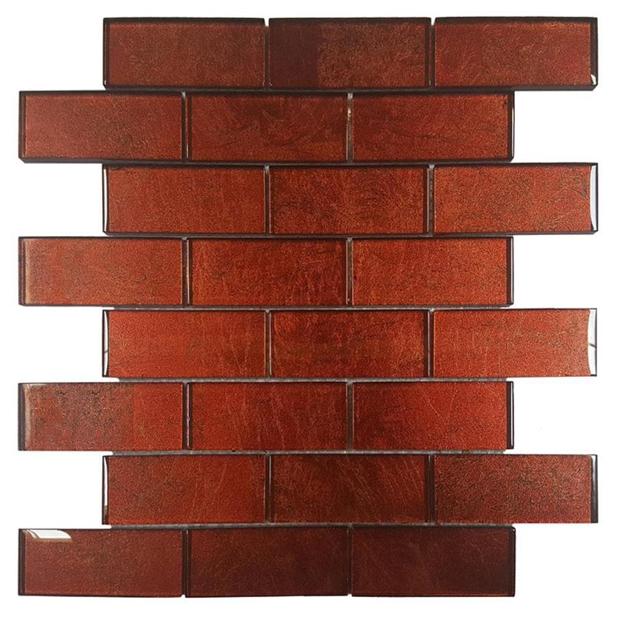 Solistone Folia Glass 10-Pack Tamarind Brick Mosaic Glass Wall Tile (Common: 12-in x 12-in; Actual: 12-in x 12-in)