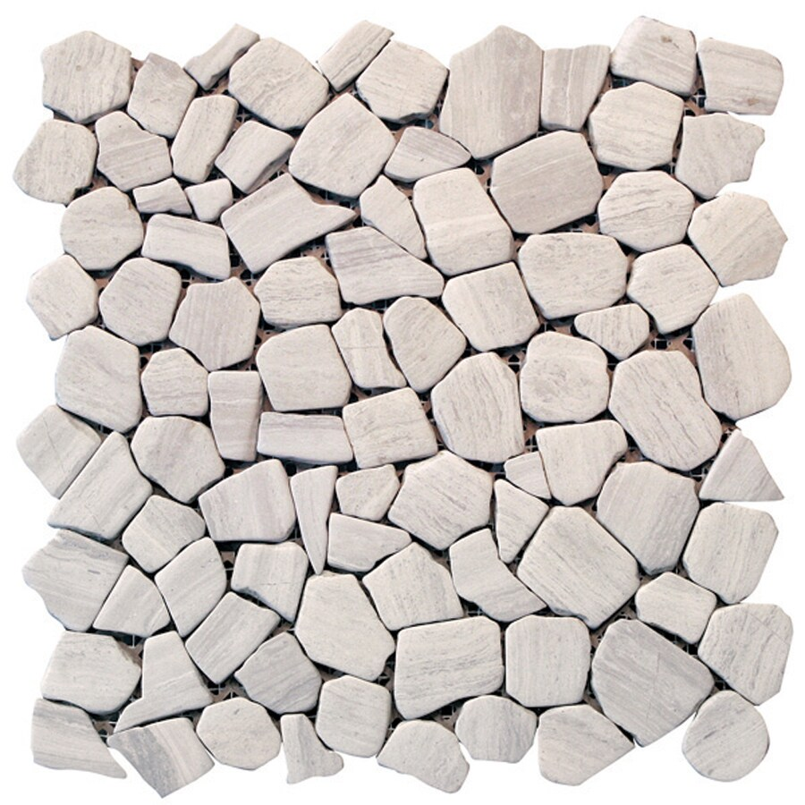Solistone Indonesian Pebbles 10-Pack Light Gray Pebble Mosaic Marble Floor and Wall Tile (Common: 12-in x 12-in; Actual: 12-in x 12-in)
