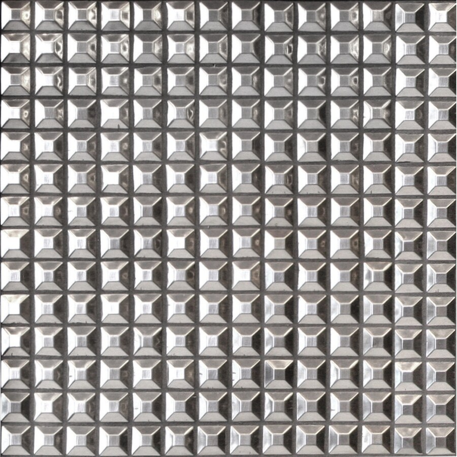 Solistone Byzantine Metal Stainless Steel Uniform Squares Mosaic Metal Wall Tile (Common: 12-in x 12-in; Actual: 12-in x 12-in)