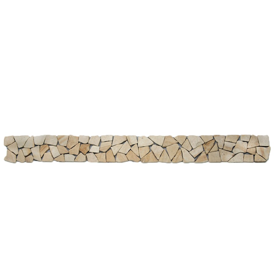 Solistone 9-Pack Indonesian Pebbles Bamboo Natural Stone Mosaic Random Indoor/Outdoor Floor Tile (Common: 4-in x 39-in; Actual: 4-in x 39-in)
