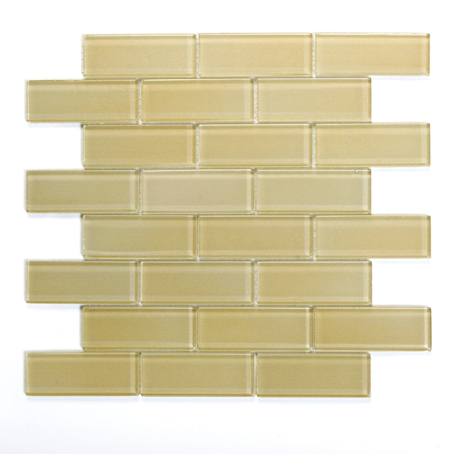 Solistone Mardi Gras Glass 10-Pack St Charles Brick Mosaic Glass Wall Tile (Common: 12-in x 12-in; Actual: 12-in x 12-in)
