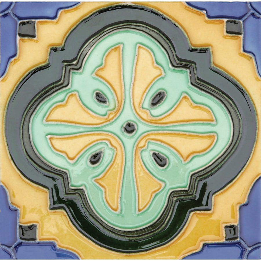 Solistone Hand-Painted Ceramic 10-Pack Acapulco Ceramic Wall Tile (Common: 6-in x 6-in; Actual: 6-in x 6-in)