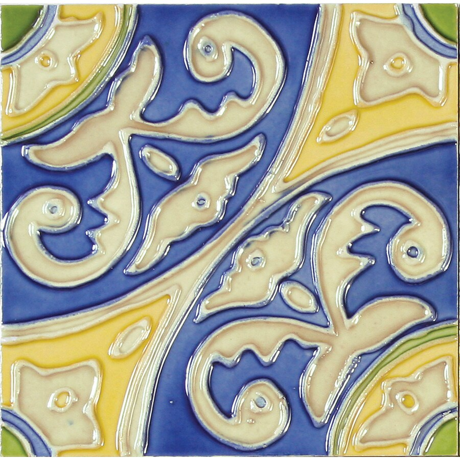 Solistone Hand-Painted Ceramic 10-Pack Circulo Ceramic Wall Tile (Common: 6-in x 6-in; Actual: 6-in x 6-in)