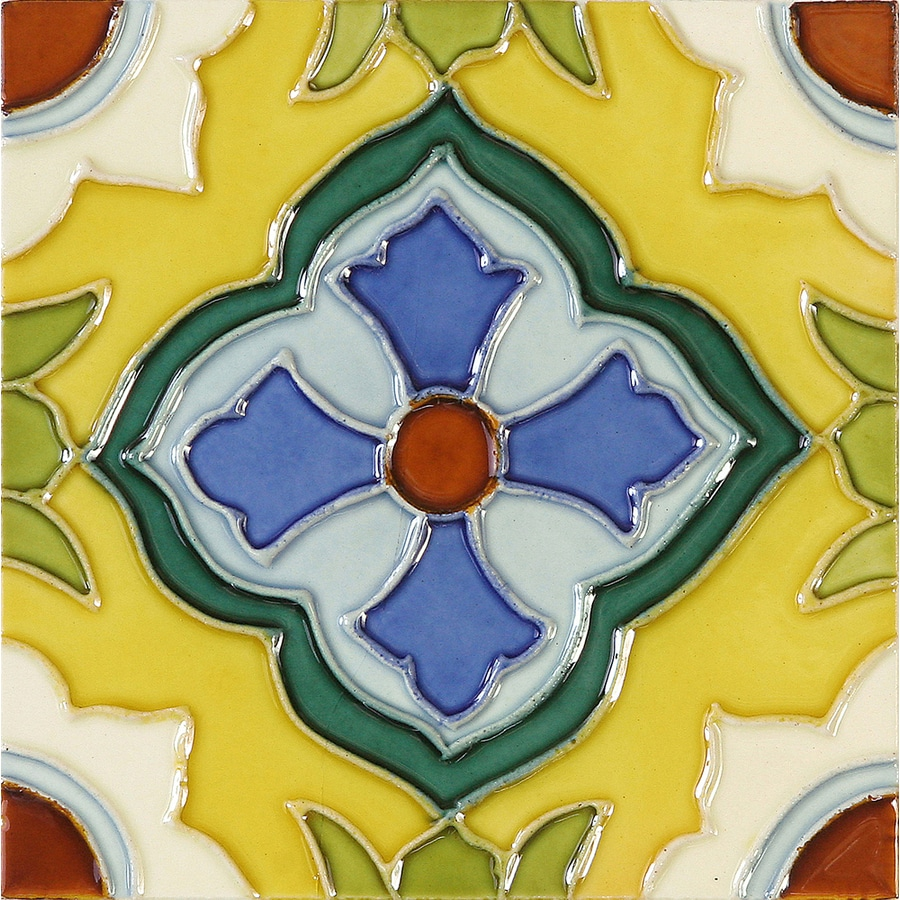 Solistone Hand-Painted Ceramic 10-Pack Laguna Ceramic Wall Tile (Common: 6-in x 6-in; Actual: 6-in x 6-in)
