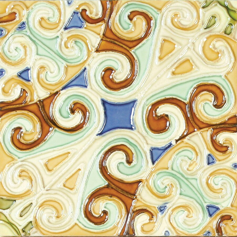 Solistone Hand-Painted Ceramic 10-Pack Remolinos Ceramic Wall Tile (Common: 6-in x 6-in; Actual: 6-in x 6-in)